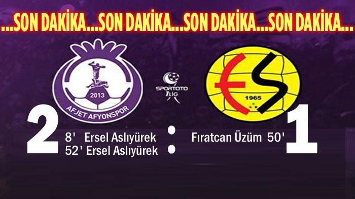 AFJET AFYONSPOR, ESKİŞEHİRSPOR'U 2-1 MAĞLUP ETTİ