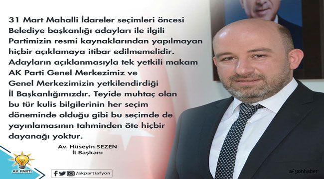 AK PARTİ İL BAŞKANLIĞINDAN AÇIKLAMA..