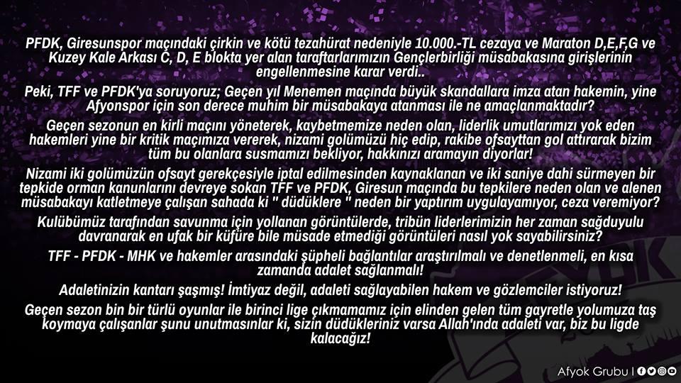 TARAFTARDAN FEDERASYONA VE PFDK'YA SERT TEPKİ