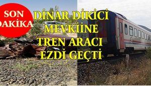 DİNAR'DA TREN OTOMOBİLE ÇARPTI, 2 YARALI