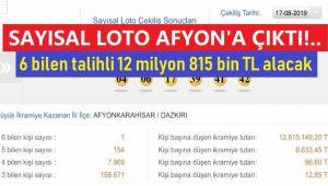 SAYISAL LOTO AFYON'A ÇIKTI!..