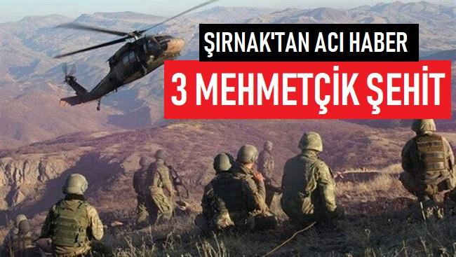 ŞIRNAK'TAN ACI HABER; 3 ASKER ŞEHİT