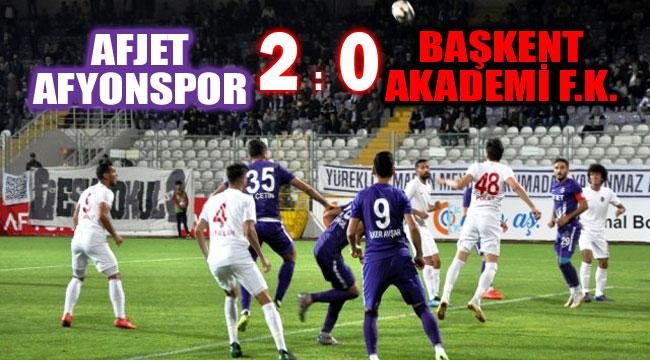 AFJET AFYONSPOR, SAHASINDA BAŞKENT AKADEMİ'Yİ 2-0 MAĞLUP ETTİ