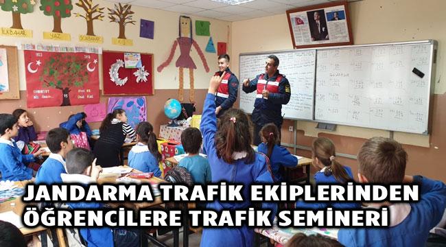 JANDARMA TRAFİK EKİBİNDEN ÖĞRENCİLERE TRAFİK SEMİNERİ