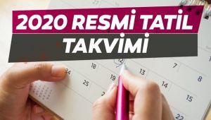 2020 YILINDA RESMİ TATİLLER