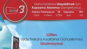 KANAL3 TV'NİN UYDU FREKANSLARI DEĞİŞTİ