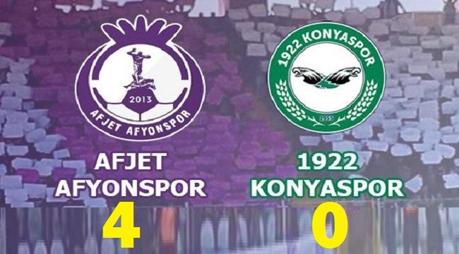AFJET AFYONSPOR, 1922 KONYASPOR'U 4-0 MAĞLUP ETTİ