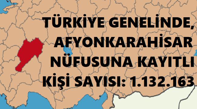 AFYONKARAHİSAR NÜFUSUNA KAYITLI KİŞİ SAYISI 1.132.163