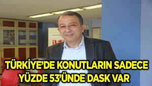 TÜRKİYE'DE KONUTLARIN SADECE YÜZDE 53'ÜNDE DASK VAR