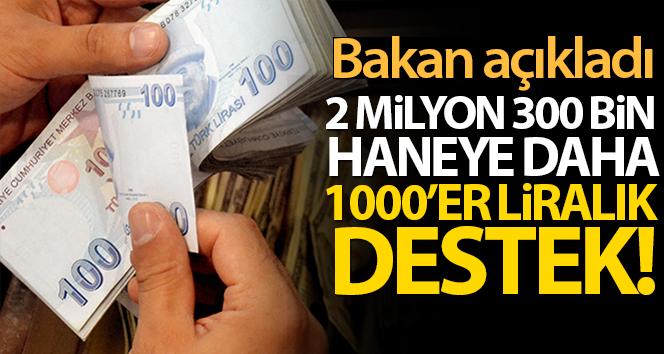 2 MİLYON 300 BİN HANEYE DAHA 1000'ER LİRALIK DESTEK!