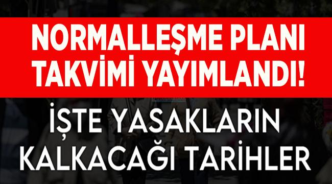 İŞTE NORMALLEŞME PLANI TAKVİMİ!..