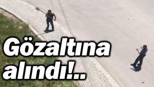 POLİSE KÜREKLE SALDIRAN ŞAHIS GÖZALTINA ALINDI
