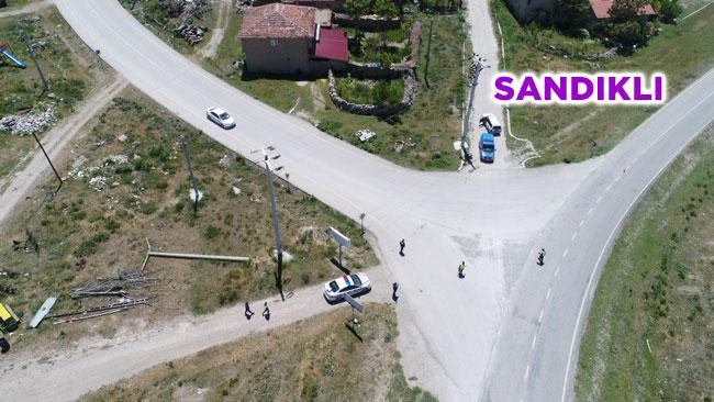 SANDIKLI'DA JANDARMA TRAFİK EKİPLERİ DRONE İLE DENETİM YAPTI