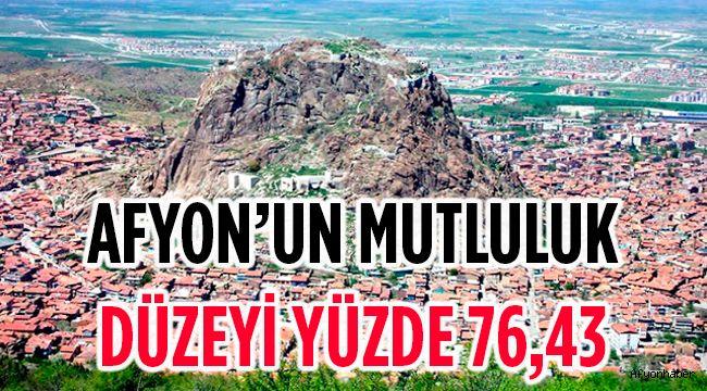 AFYON'UN MUTLULUK DÜZEYİ YÜZDE 76,43