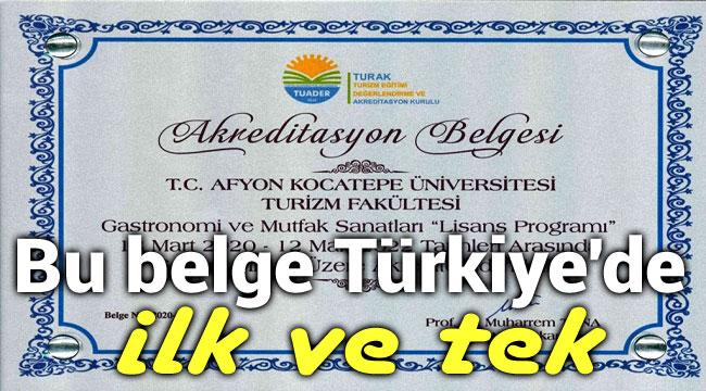 BU BELGE TÜRKİYE'DE İLK VE TEK