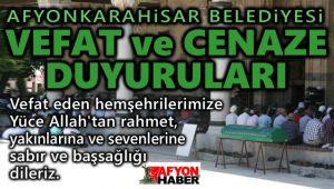 AFYONKARAHİSAR BELEDİYESİ VEFAT DUYURULARI | 14.08.2020