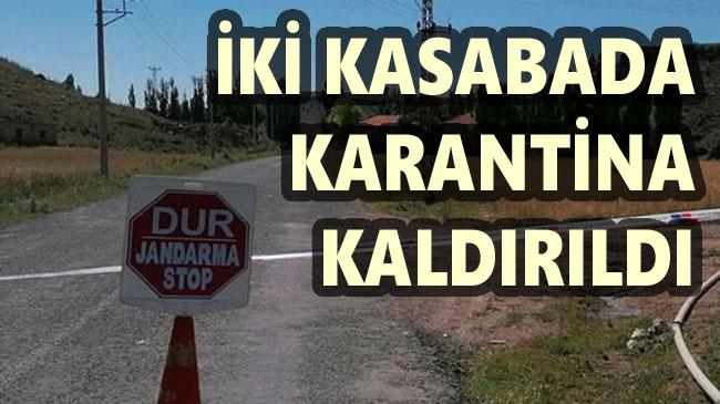 MERKEZE BAĞLI İKİ BELDE'DE KARANTİNA KALDIRILDI