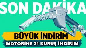 MOTORİNE 21 KURUŞ İNDİRİM GELİYOR