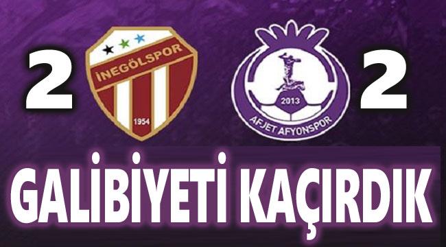AFJET AFYONSPOR, GALİBİYETİ KAÇIRDI:2-2