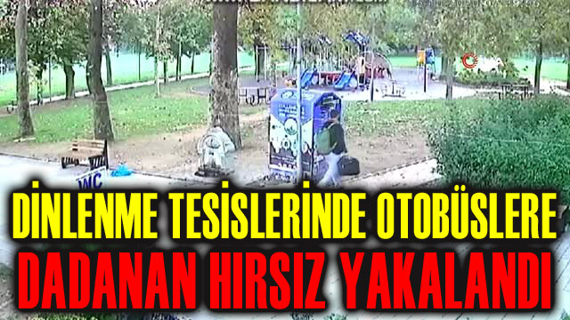 DİNLENME TESİSLERİNDEKİ OTOBÜSLERE DADANAN HIRSIZ YAKALANDI