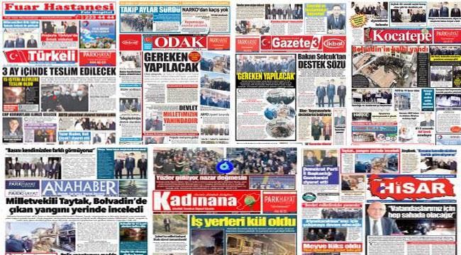 Afyon yerel gazetelerin ilk sayfaları