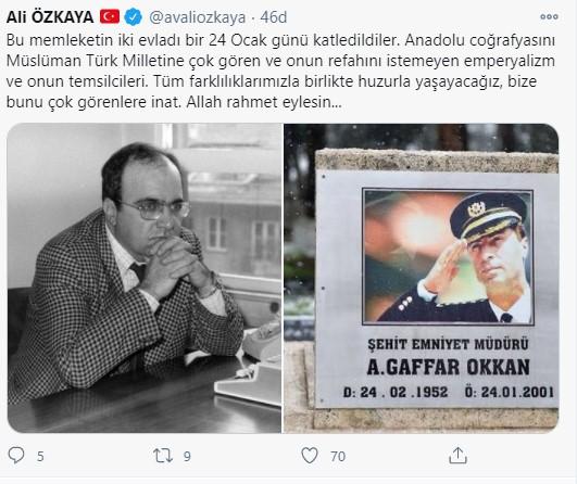 Özkaya, Gaffar Okkan ve Uğur Mumcu için mesaj paylaştı