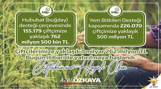 Ali Özkaya'dan çiftçiye destek müjdesi
