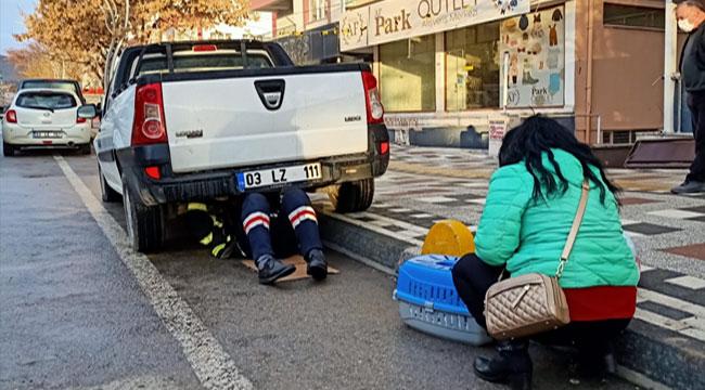 Afyon'da kamyonetin altına sıkışan kediyi itfaiye ekibi kurtardı