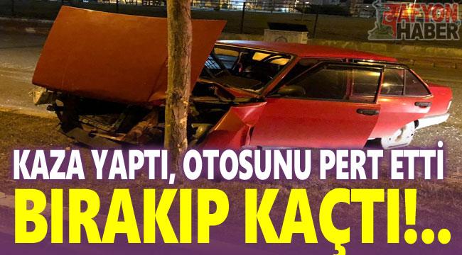 Afyon'da trafik kazası: Kaza yaptığı otomobili bırakıp kaçtı!..