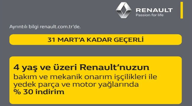 Renault Demireller Afyon Yetkili Serviste kampanya!..