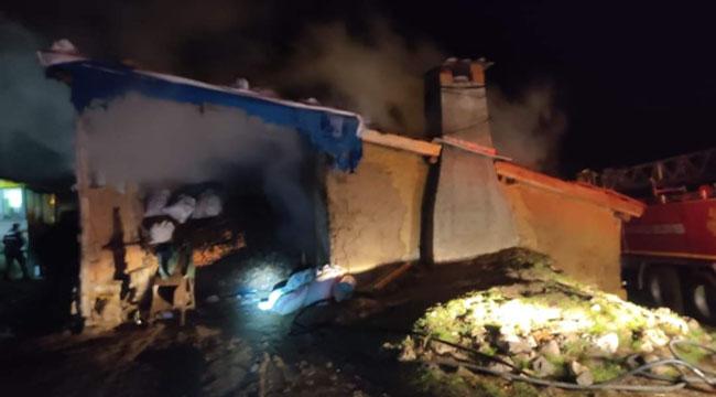 Şuhut'ta tandır evinde yangın çıktı