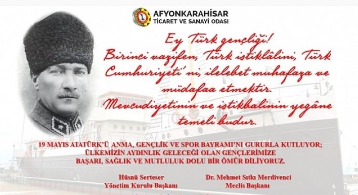 ATSO'nun Atatürk'ü Anma, Gençlik ve Spor Bayramı mesajı