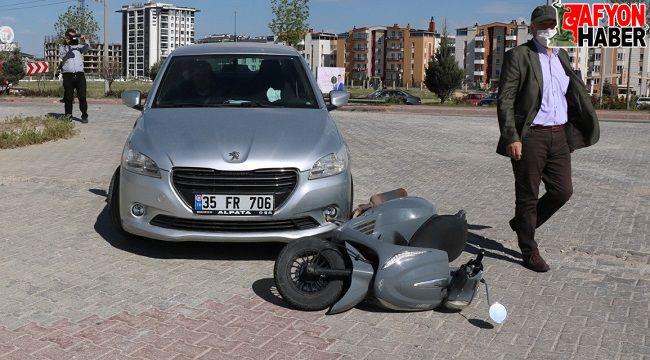 Otogar kavşağında kaza, motosiklet sürücüsü yaralandı