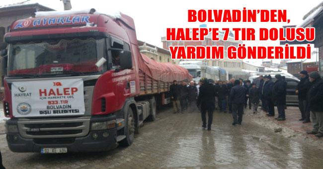 BOLVADİN'DEN, HALEP'E 7 TIR DOLUSU YARDIM GÖNDERİLDİ