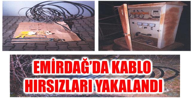 EMİRDAĞ'DA KABLO HIRSIZLARI YAKALANDI