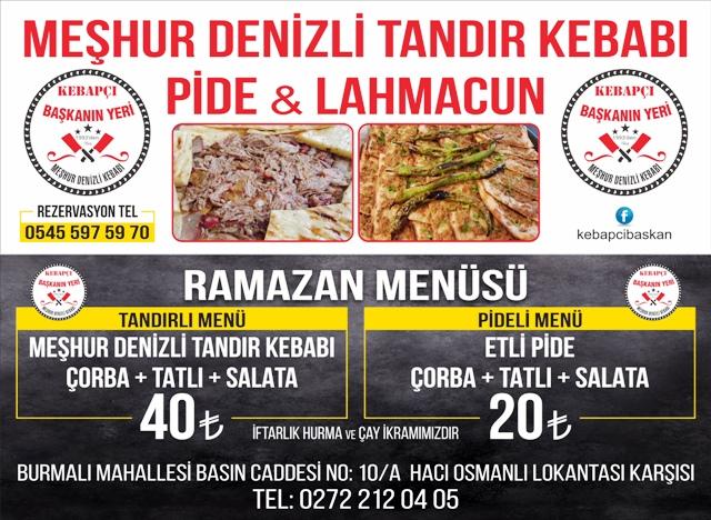 """""""KEBAPÇI BAŞKANIN YERİ"""" RAMAZAN MENÜSÜ"""