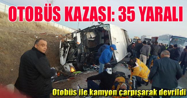 AFYONKARAHİSAR'DA OTOBÜS KAZASI: 35 YARALI