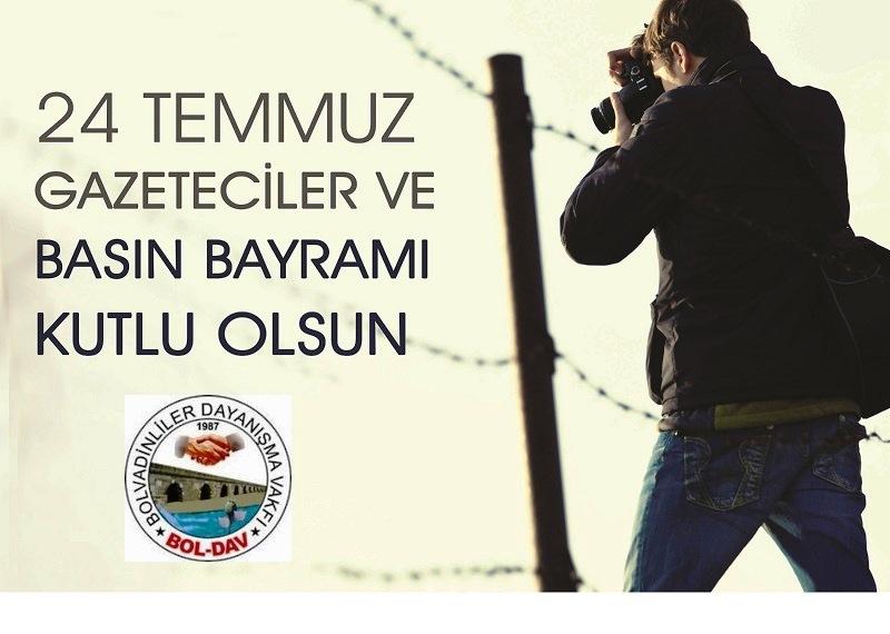 Boldav: 24 temmuz gazeteciler ve basın bayramı'nı kutlarız.!