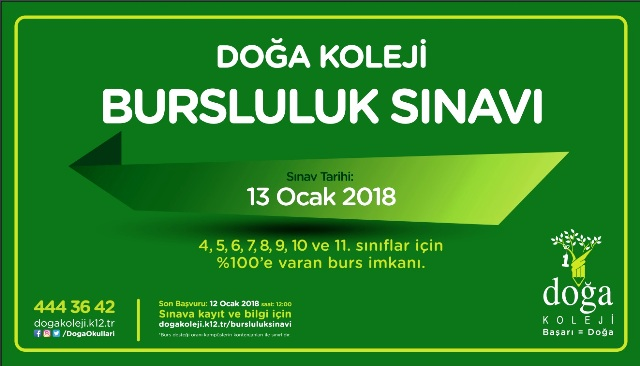DOĞA KOLEJİ BURSLULUK SINAVINI SAKIN KAÇIRMAYIN!!!