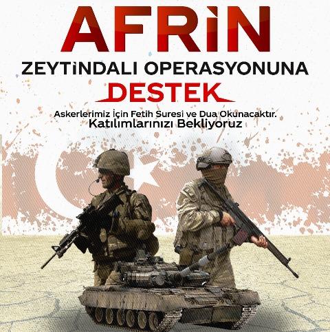STK PLATFORMU' DAN AFRİN'DE ZEYTİNDALI OPERASYONUNA DESTEK
