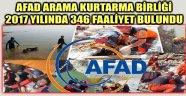 AFAD ARAMA KURTARMA BİRLİĞİ 2017 YILINDA 346 FAALİYET BULUNDU