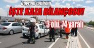 Afyonkarahisar'da yaz tatilinin son haftasının kaza bilançosu: 3 ölü, 74 yaralı