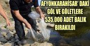 AFYONKARAHİSAR' DAKİ GÖL VE GÖLETLERE 535.000 ADET BALIK BIRAKILDI