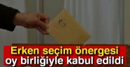 ERKEN SEÇİM ÖNERGESİ KOMİSYONDA OY BİRLİĞİYLE KABUL EDİLDİ